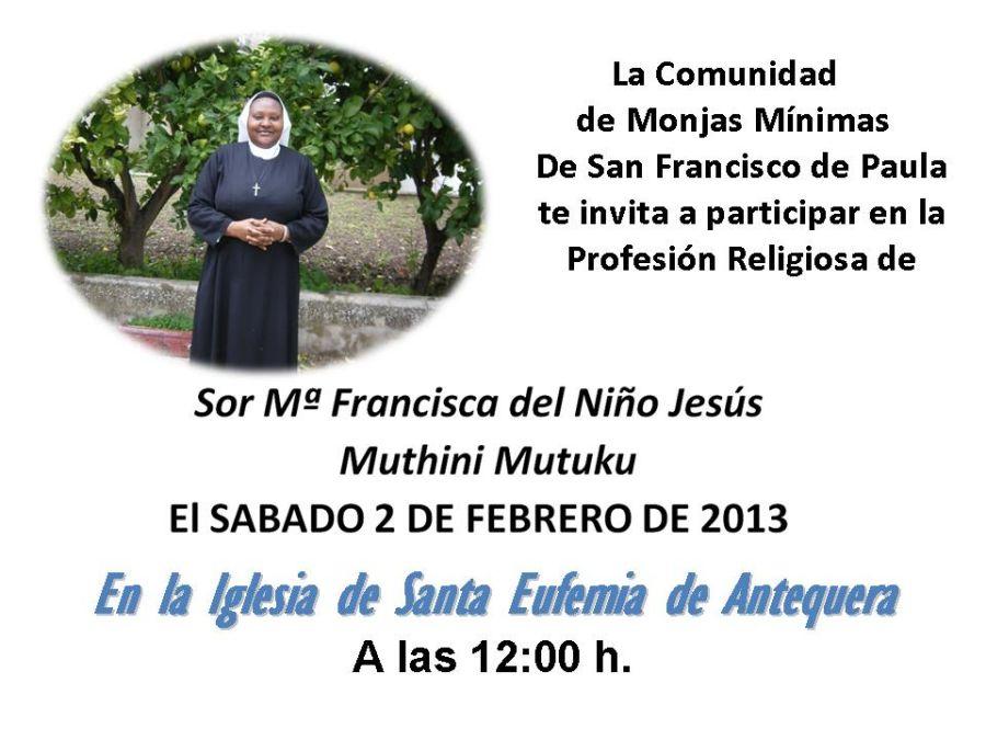 Invitación a la profesión de Sor Mª Francisca