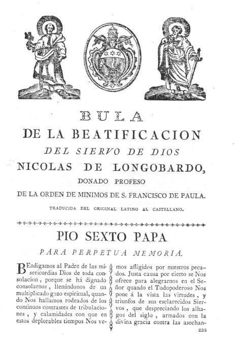 Bula Beatificación 1787 pagina 1