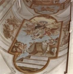Pintura mural en el techo de la Iglesia
